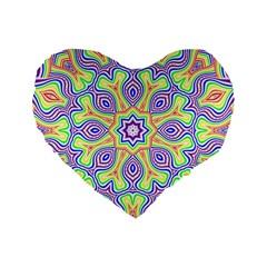 Rainbow Kaleidoscope Standard 16  Premium Flano Heart Shape Cushions