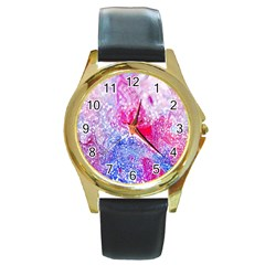 Glitter Pattern Background Round Gold Metal Watch