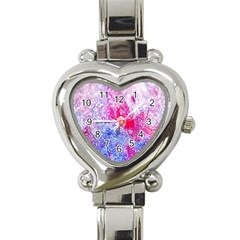Glitter Pattern Background Heart Italian Charm Watch