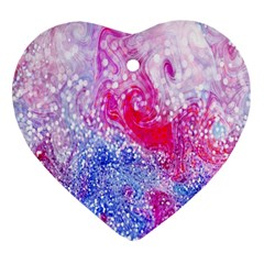 Glitter Pattern Background Heart Ornament (two Sides)
