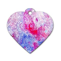 Glitter Pattern Background Dog Tag Heart (Two Sides)