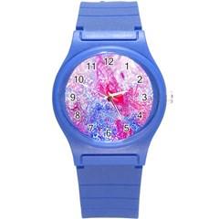 Glitter Pattern Background Round Plastic Sport Watch (S)