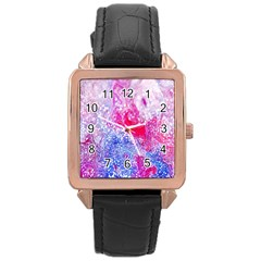 Glitter Pattern Background Rose Gold Leather Watch