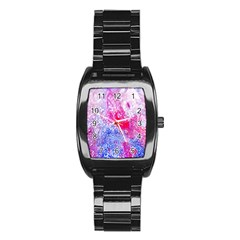 Glitter Pattern Background Stainless Steel Barrel Watch