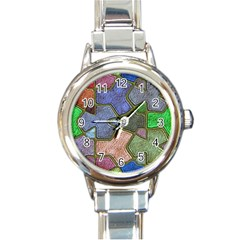 Background With Color Kindergarten Tiles Round Italian Charm Watch