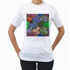 Background With Color Kindergarten Tiles Women s T-Shirt (White) (Two Sided)