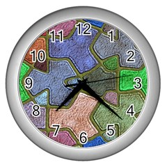 Background With Color Kindergarten Tiles Wall Clocks (Silver)