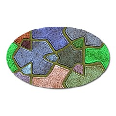 Background With Color Kindergarten Tiles Oval Magnet