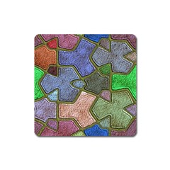 Background With Color Kindergarten Tiles Square Magnet