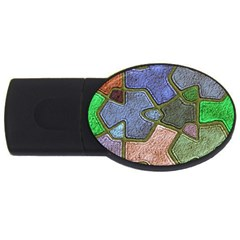 Background With Color Kindergarten Tiles USB Flash Drive Oval (1 GB)