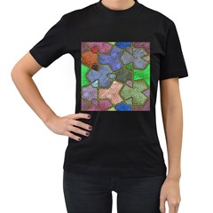 Background With Color Kindergarten Tiles Women s T Shirt (black) (two Sided)