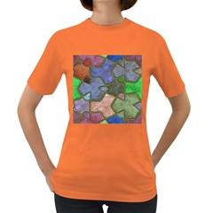 Background With Color Kindergarten Tiles Women s Dark T-Shirt