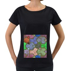 Background With Color Kindergarten Tiles Women s Loose-Fit T-Shirt (Black)