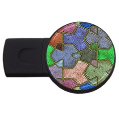 Background With Color Kindergarten Tiles USB Flash Drive Round (4 GB)