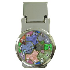 Background With Color Kindergarten Tiles Money Clip Watches