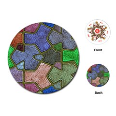 Background With Color Kindergarten Tiles Playing Cards (Round)
