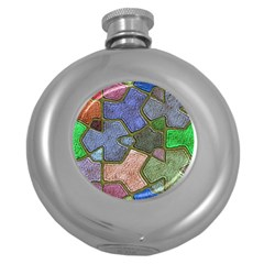 Background With Color Kindergarten Tiles Round Hip Flask (5 Oz)