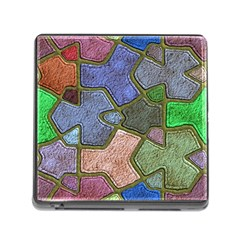 Background With Color Kindergarten Tiles Memory Card Reader (Square)