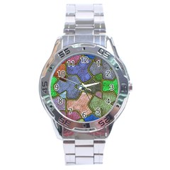Background With Color Kindergarten Tiles Stainless Steel Analogue Watch