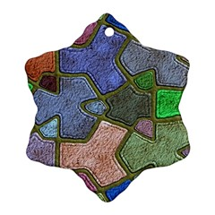 Background With Color Kindergarten Tiles Ornament (Snowflake)