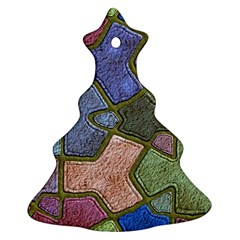 Background With Color Kindergarten Tiles Christmas Tree Ornament (Two Sides)