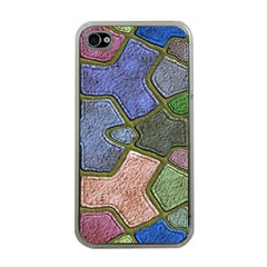 Background With Color Kindergarten Tiles Apple Iphone 4 Case (clear)