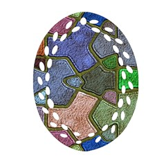 Background With Color Kindergarten Tiles Oval Filigree Ornament (two Sides)