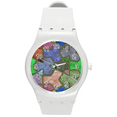 Background With Color Kindergarten Tiles Round Plastic Sport Watch (M)