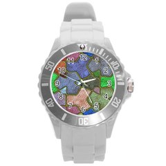 Background With Color Kindergarten Tiles Round Plastic Sport Watch (L)