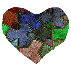 Background With Color Kindergarten Tiles Large 19  Premium Heart Shape Cushions