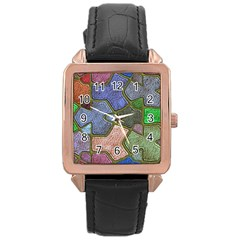 Background With Color Kindergarten Tiles Rose Gold Leather Watch