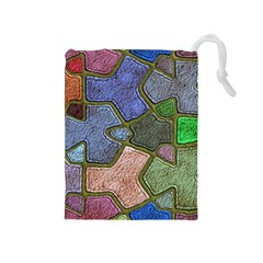 Background With Color Kindergarten Tiles Drawstring Pouches (Medium)