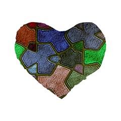 Background With Color Kindergarten Tiles Standard 16  Premium Flano Heart Shape Cushions