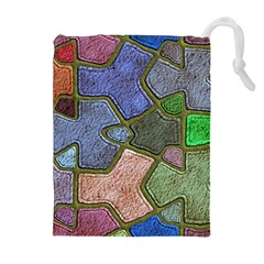 Background With Color Kindergarten Tiles Drawstring Pouches (Extra Large)