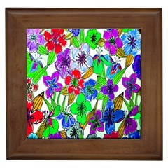 Background Of Hand Drawn Flowers With Green Hues Framed Tiles