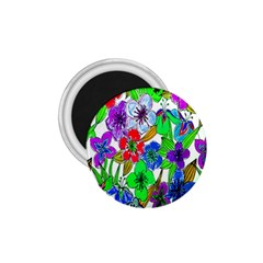 Background Of Hand Drawn Flowers With Green Hues 1 75  Magnets