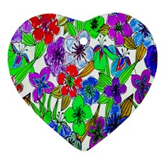 Background Of Hand Drawn Flowers With Green Hues Ornament (Heart)
