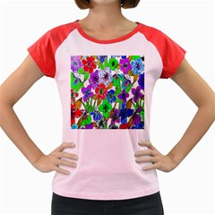 Background Of Hand Drawn Flowers With Green Hues Women s Cap Sleeve T Shirt