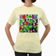 Background Of Hand Drawn Flowers With Green Hues Women s Yellow T-Shirt
