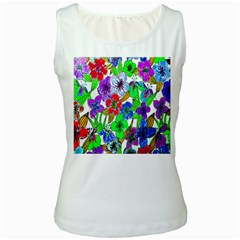 Background Of Hand Drawn Flowers With Green Hues Women s White Tank Top