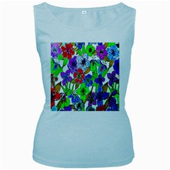 Background Of Hand Drawn Flowers With Green Hues Women s Baby Blue Tank Top