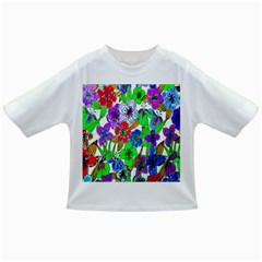 Background Of Hand Drawn Flowers With Green Hues Infant/toddler T Shirts