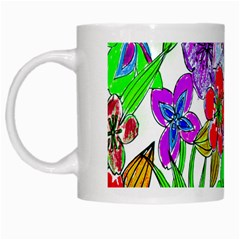 Background Of Hand Drawn Flowers With Green Hues White Mugs
