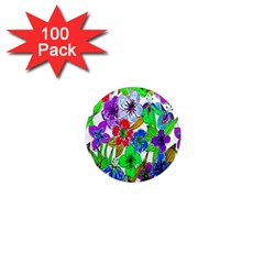 Background Of Hand Drawn Flowers With Green Hues 1  Mini Magnets (100 pack)