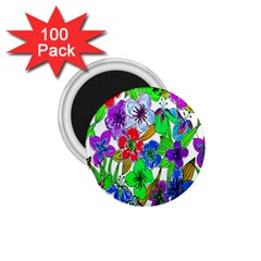 Background Of Hand Drawn Flowers With Green Hues 1 75  Magnets (100 Pack)