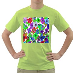 Background Of Hand Drawn Flowers With Green Hues Green T Shirt