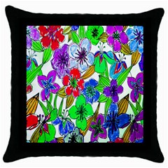 Background Of Hand Drawn Flowers With Green Hues Throw Pillow Case (black)
