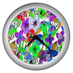 Background Of Hand Drawn Flowers With Green Hues Wall Clocks (Silver)