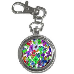 Background Of Hand Drawn Flowers With Green Hues Key Chain Watches