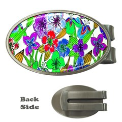 Background Of Hand Drawn Flowers With Green Hues Money Clips (Oval)